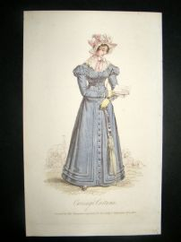 Lady's Magazine 1824 H/Col Regency Fashion Print. Carriage Costume 50